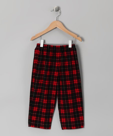 Red & Black Plaid Corduroy Pants - Infant