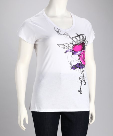 White Heart & Crown Short-Sleeve Top - Plus