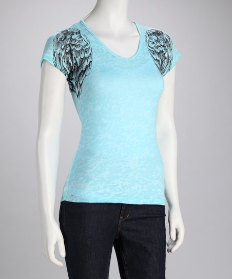 CottyOn Aqua Wing Burnout Top