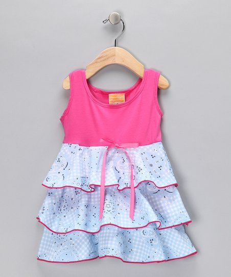 Pink & Baby Blue Rodeo Ruffle Dress - Infant
