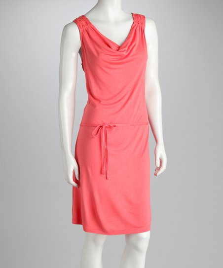 Coral Scoop Neck Lace Dress
