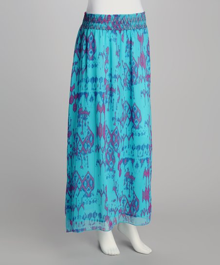 Sea Foam Blue & Purple Abstract Maxi Skirt