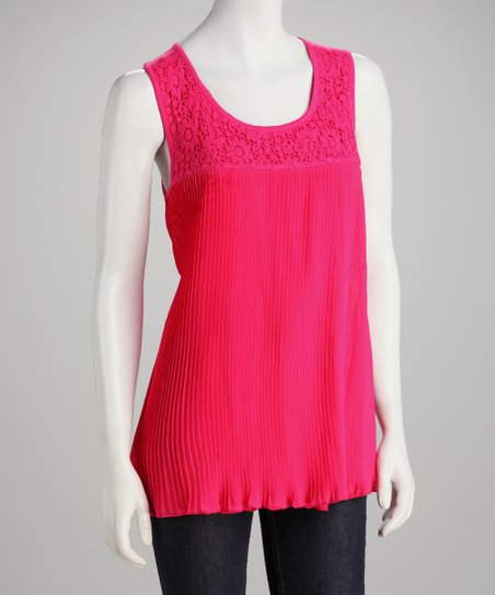 Fuchsia Crochet Lace Pleated Top