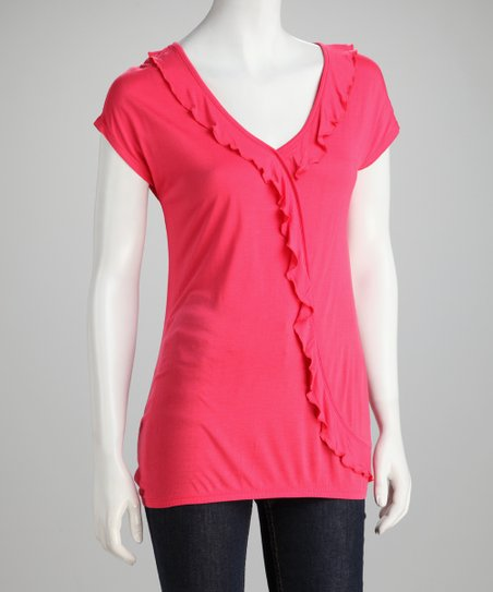 Bright Coral Ruffle Top