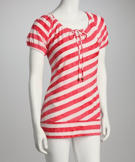 Bright Coral & White Stripe Tie-Front Top