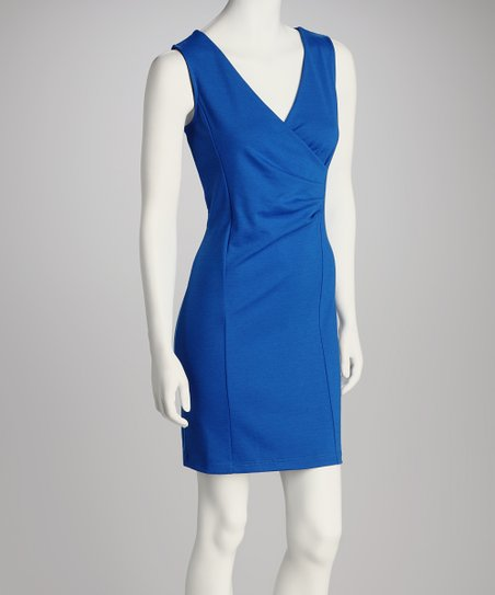 Cobalt Surplice Dress