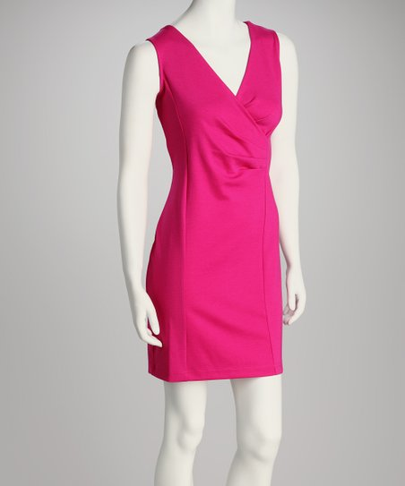 Fuchsia Surplice Dress