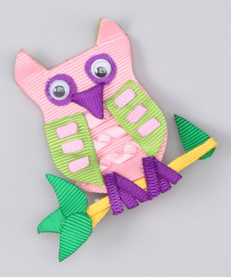 Pink &amp; Purple Owl Clip
