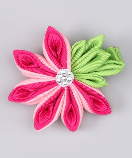 Pink Japanese Ribbon Flower Clip