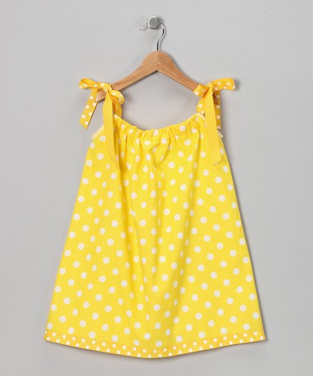 Yellow & White Polka Dot Swing Dress - Infant, Toddler & Girls