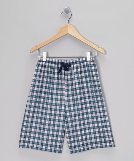 Green Plaid Noah Pajama Shorts - Boys