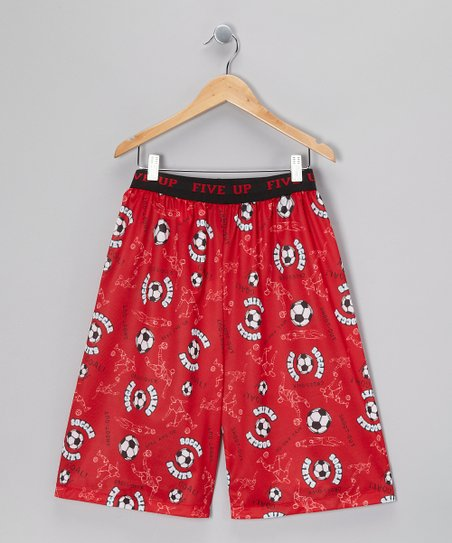 Red Soccer Pajama Shorts - Boys