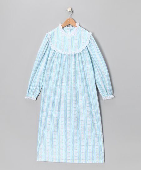 Light Blue Floral Stripe Nightgown - Toddler & Girls