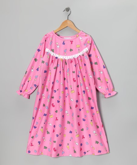 Pink Alphabet Ruffle Nightgown - Girls