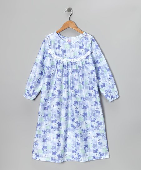 Blue Patchwork Puppy Ruffle Nightgown - Girls