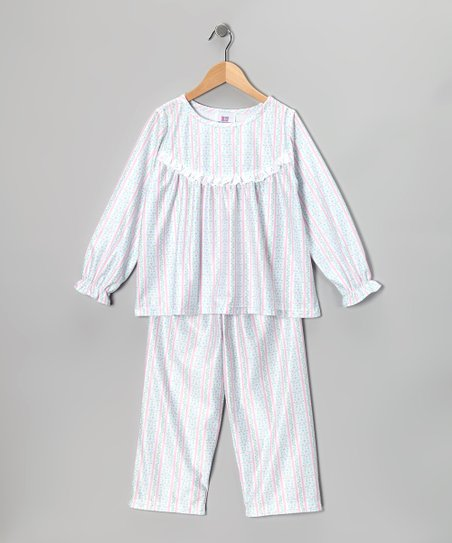 White Floral Stripe Ruffle Pajama Set - Toddler