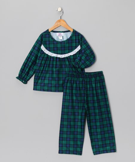 Navy & Green Plaid Pajama Set - Toddler