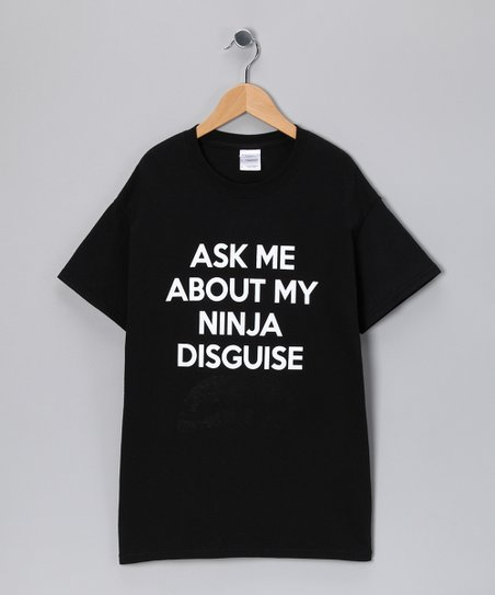 Black 'Ask Me about My Ninja' Flip-Up Tee - Kids & Adult