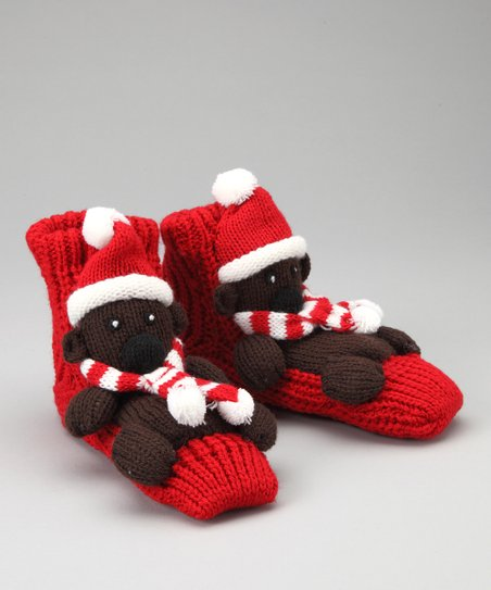 Red Holiday Bear Slipper Socks