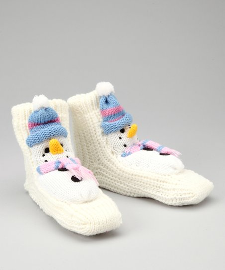 White Snowman Slipper Socks