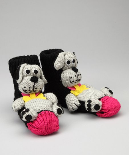 Black & Gray Dog Slipper Socks