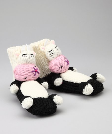 White Cow Slipper Socks