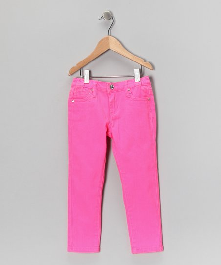 Neon Pink Skinny Jeans - Girls