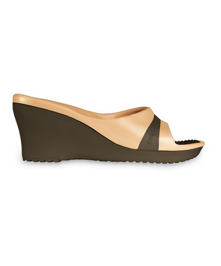 Chocolate &amp; Gold Sassari Wedge - Women