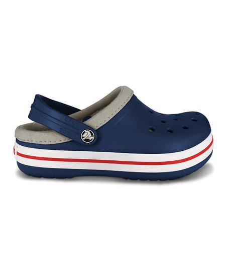 Navy & Red Lined Crocband Clog - Kids