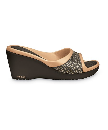 Espresso &amp; Gold Sately Slide - Women