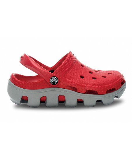 Red & Light Gray Duet Sport Clog