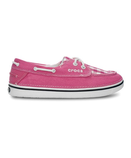 Hot Pink & Oyster Gingham Hover Boat Shoe - Women