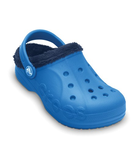 Ocean & Navy Baya Fleece Clog - Kids
