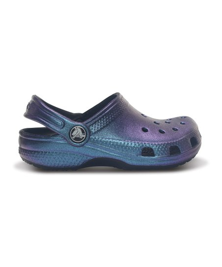Aegean Blue &amp; Black Classic Iridescent Clog - Kids