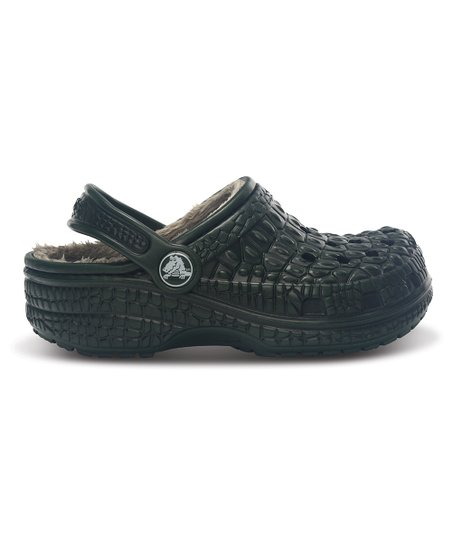 Forest Green & Black Crocskin-Lined Clog - Kids