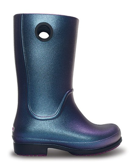 Aegean Blue & Black Wellie Iridescent Rain Boot - Kids