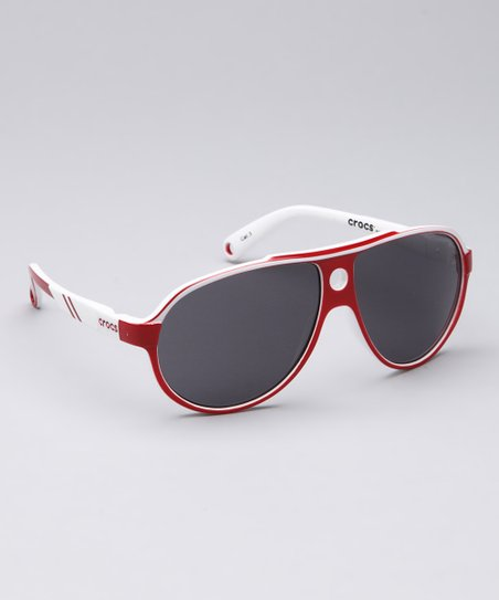 Shiny Red & White Sunglasses - Kids