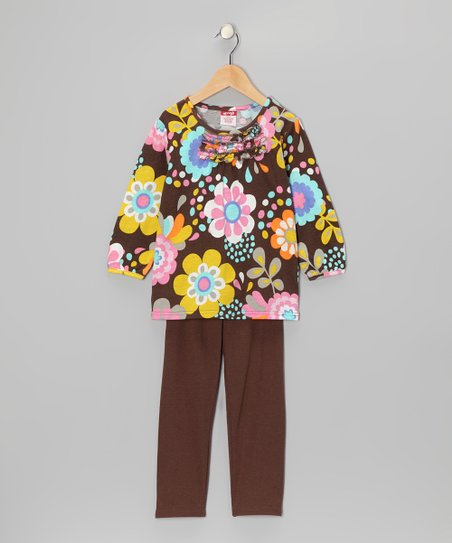Brown Floral Tunic & Leggings - Toddler