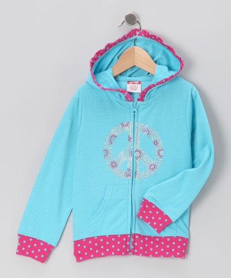 Blue Peace Zip-Up Hoodie - Toddler & Girls