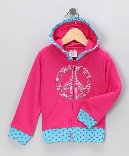 Pink Peace Zip-Up Hoodie - Toddler & Girls