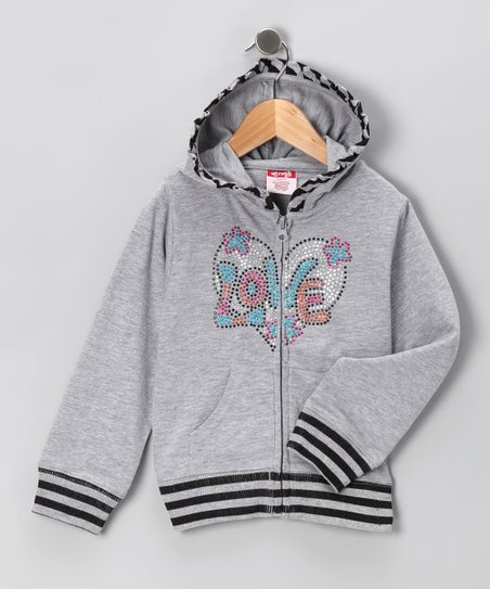 Gray 'Love' Zip-Up Hoodie - Toddler & Girls