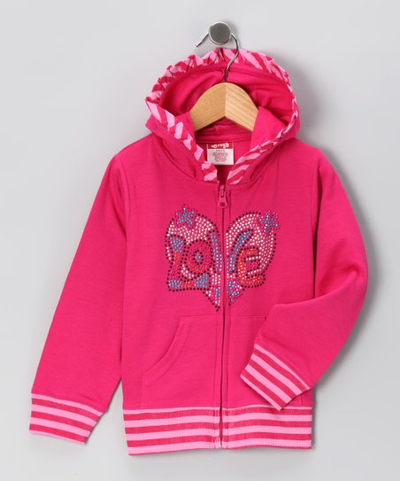Pink 'Love' Zip-Up Hoodie - Toddler & Girls