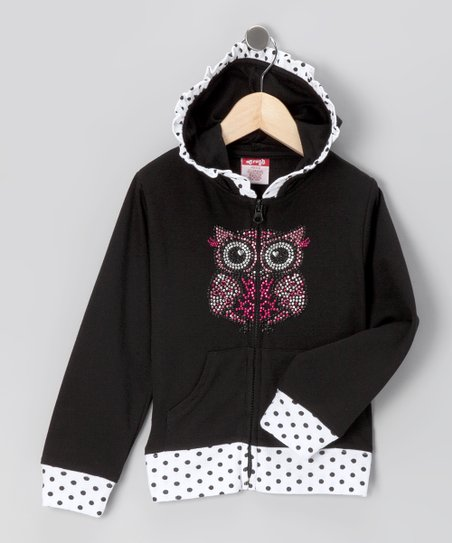 Black Owl Zip-Up Hoodie - Toddler & Girls