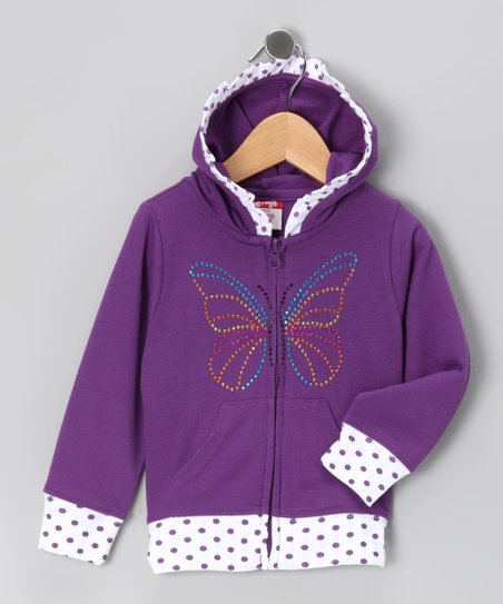 Purple Butterfly Zip-Up Hoodie - Toddler & Girls