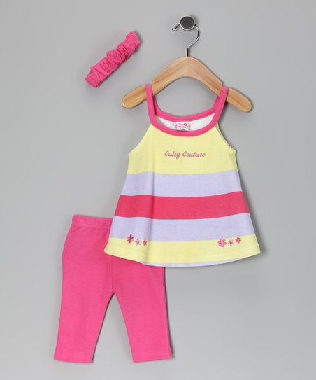 Pink &amp; Yellow Stripe Leggings Set - Infant