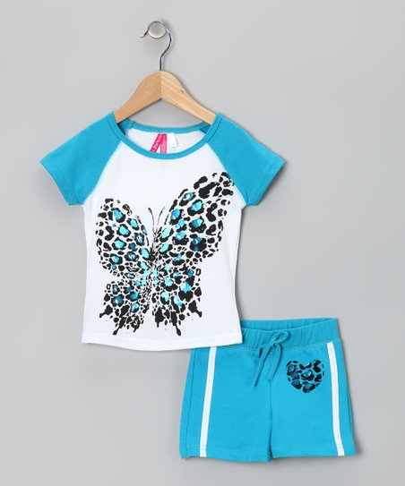 Turquoise Leopard Butterfly Tee & Shorts - Toddler & Girls