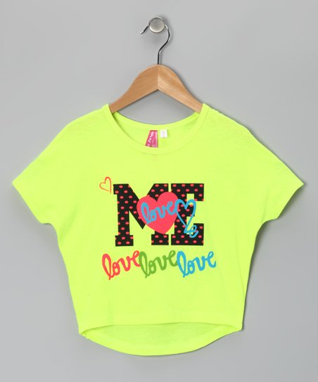 Neon Yellow 'Me' Heart Dolman Tee - Girls
