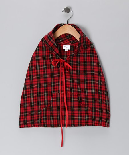Red Plaid Poncho - Infant