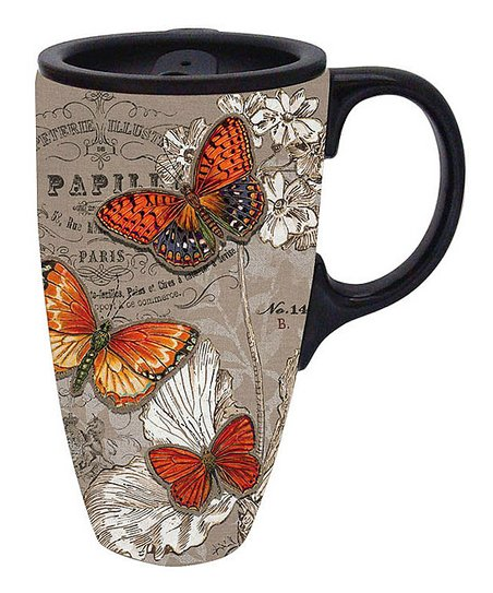 Butterfly 17-Oz. Latte Travel Mug