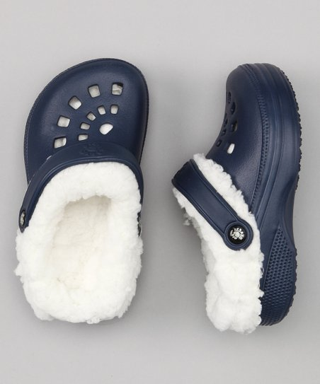 Navy &amp; White Fleece-Lined Clog - Kids